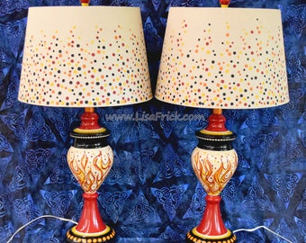Pair of Devil Lamps, Pair of Hot Lamps, Flame Lamps, Hot Rod Lamps, Sexy Lamps, Hand Painted Lamps