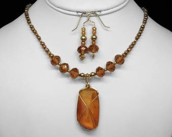 Amber and Crystal Necklace and Earring Set in Gold