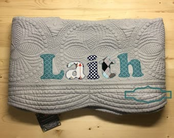 Boy quilt etsy personalized baby quilt personalized baby gift monogrammed quilt baby shower gift baby negle Image collections