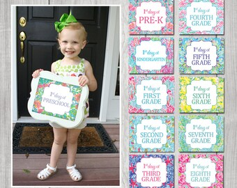 TEN SIGNS! - First Day of School Roses Signs (Preschool - Eighth Grade)