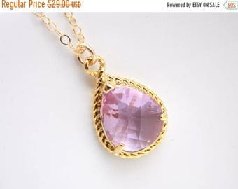SALE Gold Lavender Necklace, Lilac Necklace, Glass, Gold Filled Necklace, Wedding Jewelry, Bridesmaid Necklace, Bridal Jewelry, Bridesmaid G