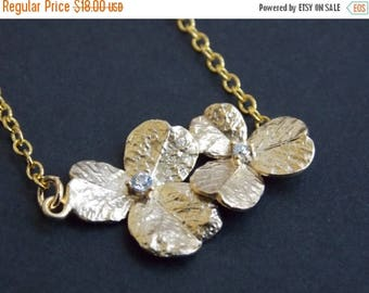 SALE Flower Necklace, Gold Necklace, Gold Flower Necklace, Flower Pendant, Cubic Zirconia, Orchid Necklace, Bridesmaid Necklace, Bridesmaid