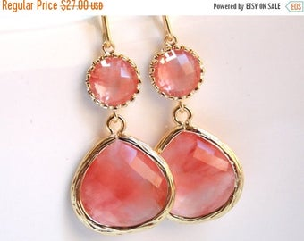 SALE Peach, Coral Earrings, Glass, Pink, Grapefruit, Champagne, Gold, Wedding Jewelry, Bridesmaid Gift, Bridesmaid Earrings, Bridal Jewelry
