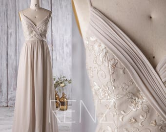 2017 Cream/Beige Bridesmaid Dress, V Neck Wedding Dress with Lace, Spaghetti Strap Evening Gown, Long Prom Dress, V Back Floor Length (L130)