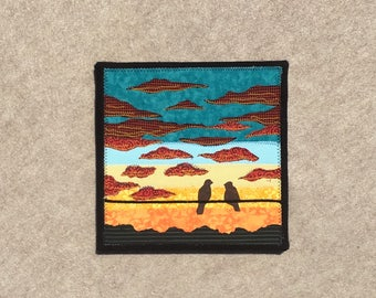 Turquoise Twilight, 8x8 inches, original sewn fabric artwork, handmade, freehand appliqué, ready to hang canvas
