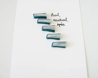 Avant, maintenant, après (Before, Now, After) - Original Book Art on paper, teal leather, book fragments, blue quintet, 6x8 in, 15x21cm
