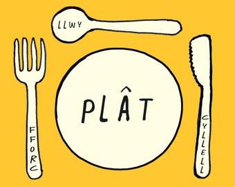 Kids Welsh Cymraeg Plat Fforc Cyllell Llwy Plate Fork Knife Spoon Unisex Melamine Placemat and Coaster Set