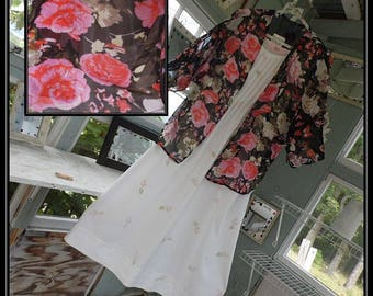 Free Domestic Shipping-CHERYL One size,Boho Robe,Chiffon,Shawl,Boho Kimono,Bed Jacket,3/4 length sleeve,floral print.Nightgown not included.