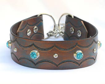 """Western Leather Dog Collar, Martingale Leather Chain Collar. Brown Leather Martingale Collar, Training Collar, Size 19 to 20"""""""