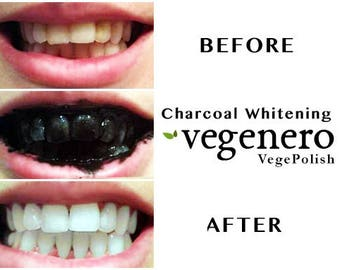 VegePolish Charcoal Teeth Whitening Polish Powder | Vegan | Natural whiten teeth remove stains | Herbal teeth whitener| clay turmeric