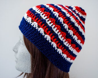Red White and Blue Crochet Beanie Patriotic Sparkle Beanie Teen Girl Womens Crocheted Hat Lace Lacy Crochet Beanie (HAT103 Saph Red Stn Dia)