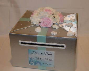 Beach themed Wedding Card Box with Flowers and Sea Shells-any colors