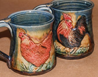 Handmade Stoneware Pair of Mugs with Hen and Rooster 12 oz each