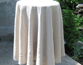 Round Gray Linen Tablecloth, Large Table Cloth Primitive Embroidery,  Wrinkled Kitchen Linens, Farmhouse