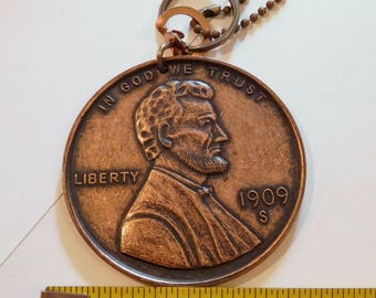 "LINCOLN PENNY 1909 S Vintage Replica - Wheat Penny - VDB - 3"" Keychain Key Ring - Large Big Huge"