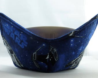 Set of 2 Star Wars ships fabric Handmade Microwave Bowl Pot Holder Cozy for hot or cold foods