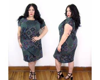 Plus Size Vintage 1970's Paisley Dress - Size 1X