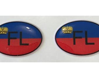 """Liechtenstein FL Domed Gel (2x) Stickers 0.8"""" x 1.2"""" for Laptop Tablet Book Fridge Guitar Motorcycle Helmet ToolBox Door PC Smartphone"""