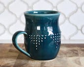 Extra Large Stoneware Mug in Deep Sea Blue - Geometric Dot Design - Hand Thrown 16 oz. - READY TO SHIP