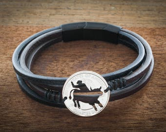 Bull Riding Leather Strand Wrap Bracelet,  Bullrider Jewelry, Western, Cowboy and Cowgirl, By Namecoins