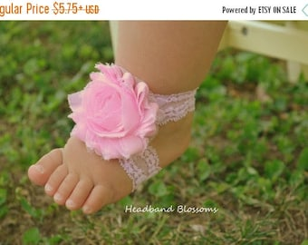 SALE Adorable LIGHT PINK Lace Barefoot Sandals - Baby Shoes - Frayed Chiffon Flower Sandal - Newborn Baby Photo Prop 1st Birthday Princess
