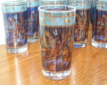 8 Vintage Blue Gold Highball Glasses Set of 8, Mid Century Mad Men, Pheasants, Game Bird Glasses, Barware Cocktail Tumblers Cobalt Blue