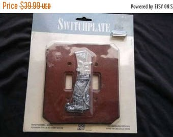 On Sale Retro Collectible New in Package Wooden Golf Light Switch Cover - Vintage Man Cave Home Decor - Country Club Double Switchplate