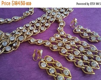 Now On Sale Vintage Rhinestone Necklace Bracelet Earring Set - High End Rare Demi Parure - 1960's Mid Century Jewelry - Hollywood Regency St