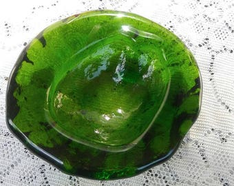 Now On Sale 1970's Heavy Green Thick Ashtray Dish, Collectible Glass, Mid Century Modern Man Cave Home Decor