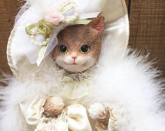 Vintage Cat Doll - Victorian Doll Dress - Cat Figurine - Tabby Cat Collectors Doll Dresses - Dollhouse Cat - Gift for Cat Lover - Lace Dress