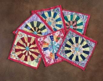 Vintage quilt blocks six in all my great grandmother made these bright colorful fabrics of the time 1940's baby quilt lap quilt frame them