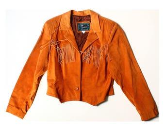 Vintage 80s Echo Mountain Brown Orange Fringed Leather Jacket UK 12 US 10