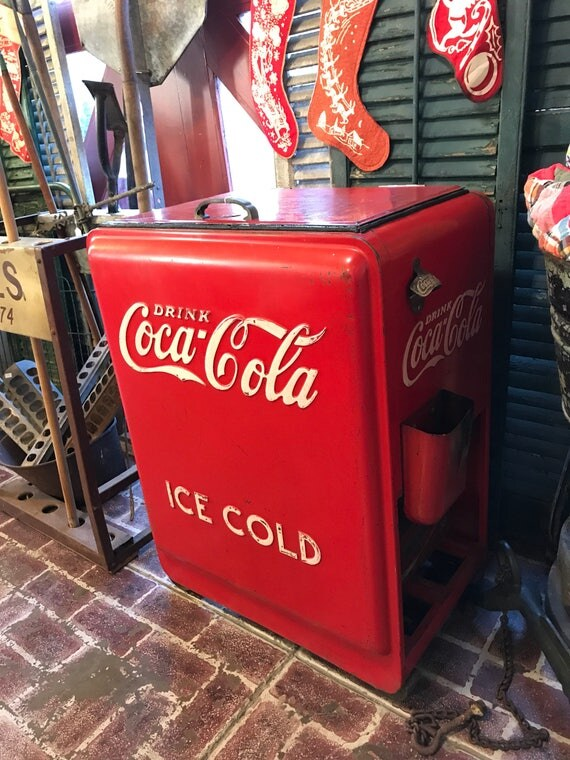1930s Coca Cola Cooler Ice Box w bottle opener and cap catch tray