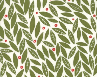 MERRILY- by the yard Moda fabric Green leaves red berries cotton~48212-13