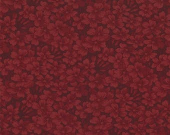 12% off thru July moda fabric by 1/2 yard 9419-16 Kansas Troubles Quilters Favorites II- dark red  floral tone on tone