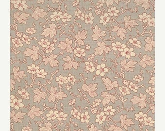12% off thru July FRENCH GENERAL FAVORITES Moda by the half yard cotton quilt fabric flowers leaves on roche grey gray 13525-14