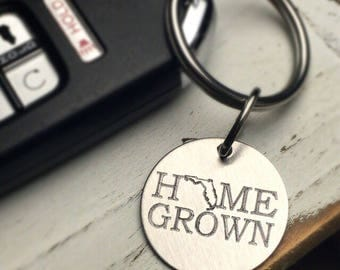 Custom Keychain | Personalized Keychain | Engraved Home Grown | Home Town | State