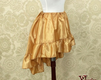 "Steampunk High Low Mini Cecilia Skirt -- Light Gold Taffeta -- Ready to Ship -- Best Fits Up To 45"" Waist"