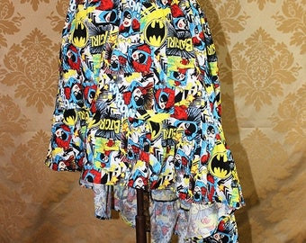 "HALF OFF High Low Mini Cecilia Skirt -- Batgirl Print -- Ready to Ship -- Fits Up To 38"" Waist"