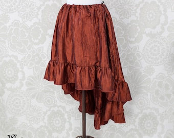 "Steampunk High Low Cecilia Skirt, Longer Length -- Spice Crinkle Taffeta -- Ready to Ship -- Best Fits Up To 48"" Waist"