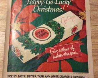 Lucky Strikes Cigarettes magazine ad Christmas 1952