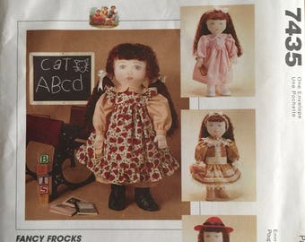 """McCall's Crafts 7435, Size 18"""", Doll Clothes Pattern, UNCUT, Fits American Dolls, Gotz and Corolle Dolls,Fancy Frocks, Doll Dresses,"""