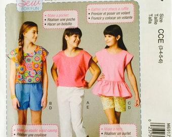 McCall's M6917, Size 3-4-5-6, Children's Tops, Shorts and Pants Pattern, UNCUT, Pullover Tops, Ruffles, Elastic Waist Pants, Play Clothes