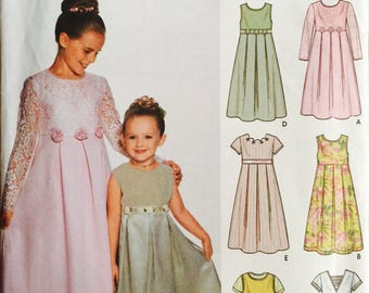 Simplicity 7039, Size 3-4-5-6, Child's Dress or Jumper with Neck and Sleeve Variations Pattern, UNCUT, Party Dress, Wedding, Formal, Holiday