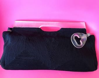 Vintage Corde & Lucite Clutch Purse - Rare Lucite frame and Zipper Pull - Amazing Handbag! FREE SHIPPING!
