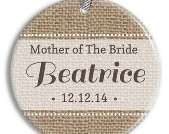 Mother of the Bride Christmas Ornament - Burlap - Personalized Porcelain Newlywed Holiday Ornament - Just Married - orn0454 - Peachwik