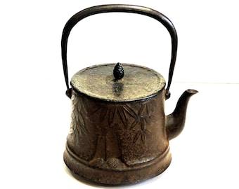 Vintage Japanese Tetsubin, Black Cast Iron Water Kettle, Nambu Ironware, Tea Ceremony, Tea Pot Kitchen Decor itsyourcountry