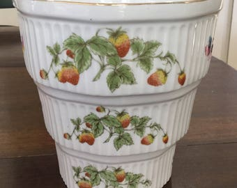 Vintage Lenwile Hand Painted China Oven to Table set of three Casserol dishes Butterflies and Strawberries Ardalt Japan