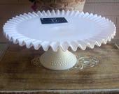 Fenton Cake Stand Ultra White Hobnail Glass Crimped Edge Wonderful For Weddings  & Holidays Vintage Wedding Table Decor