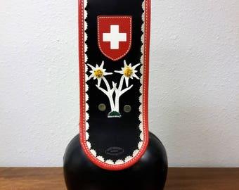 "Large Swiss Paul Mathis Sattler Bell 19"" Tall Cow Bell Wolfenschiessen Swiss Flag and Flower Motif Hand Crafted Sweden Saddlery"